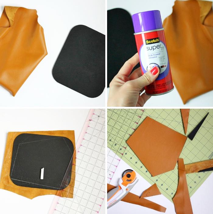 geschenk für freund zum selber machen, braunes leder, diy geschenkideen, geometrisches mousepad