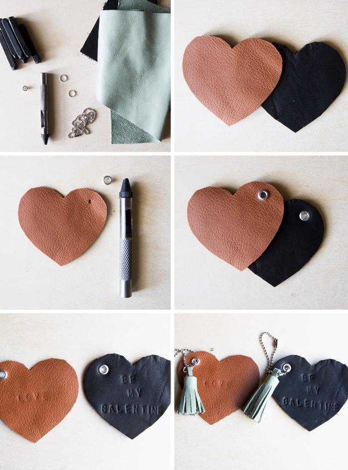 diy geschenkideen für den freund, schlüsselanhänger in der form von herzen, tutorial