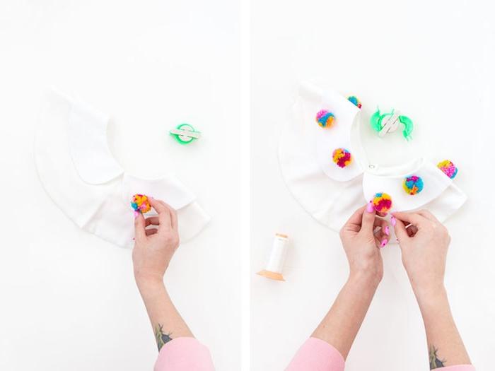 Bommeln selber machen, weißen Kragen mit Bommeln verzieren, DIY Weihnachtsgeschenk für Freundin