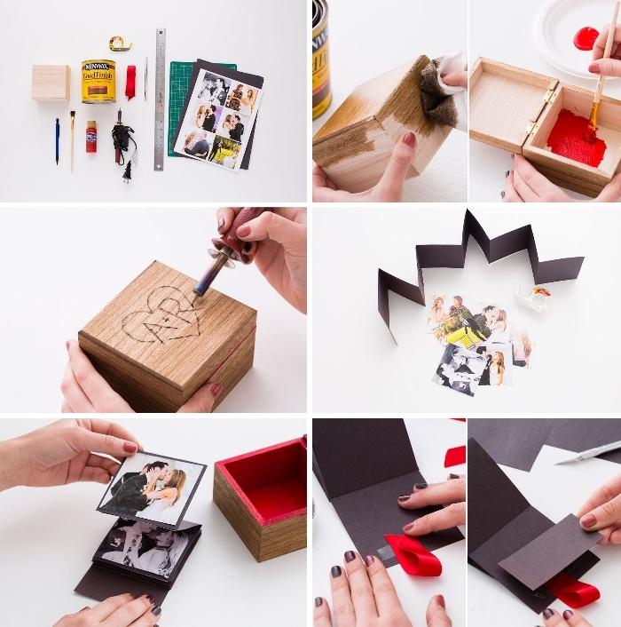 geschenkideen für den freund, box mit fotos, schritt für schritt, diy geschenke zum valentinstag