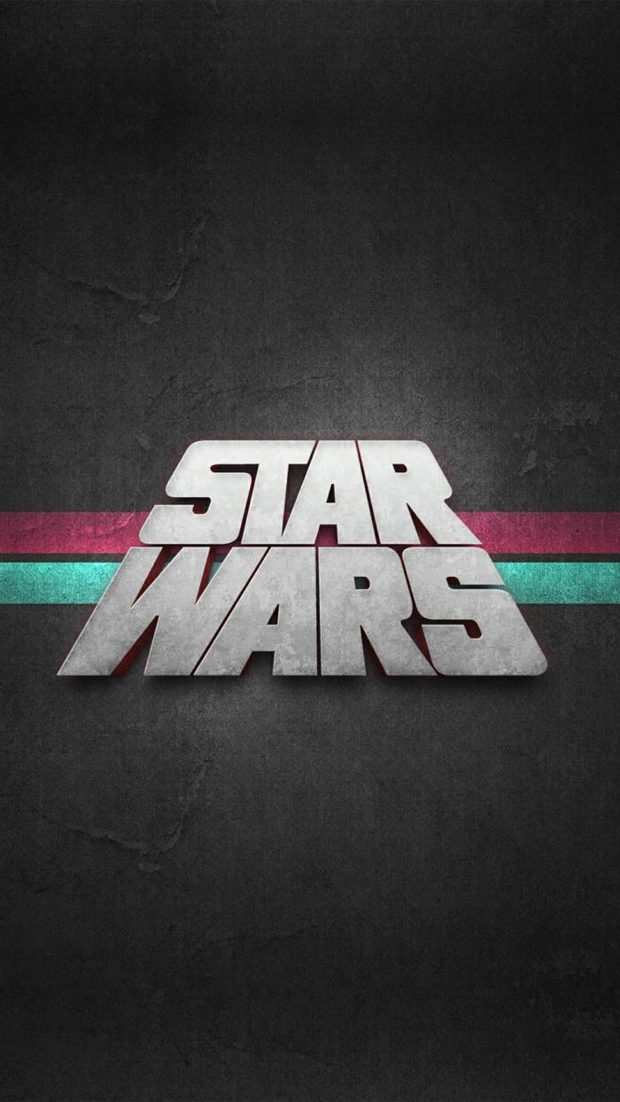ein schwarzer Hintergrund, eine Aufschrift Star Wars, zwei bunte Streifen, Hintergrundbilder kostenlos