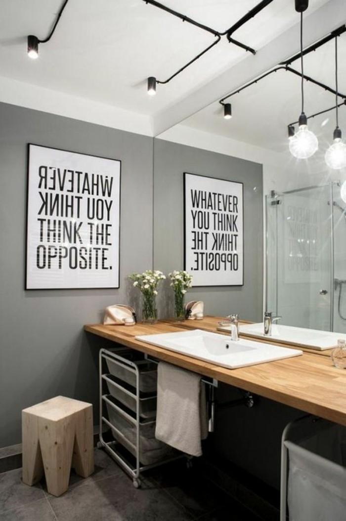 graue wandfarbe mit schwarz weißem bild dekor ideen, lampe, stehlampe, spiegeldekor ideen