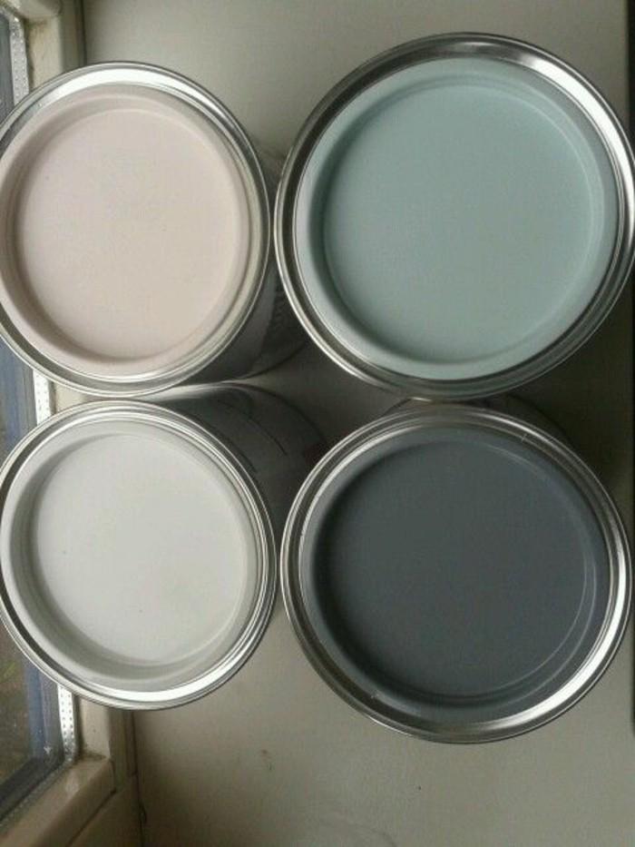 graue wandfarbe mit dekorativen farben verzieren, rosarot, dunkel und hellgrau, champagner farbe, wandfarben