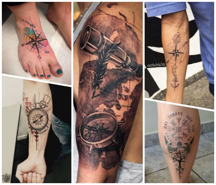 großes tattoo weltkarte als motiv, fuß tätowieen lassen, weltrichtungen, maritime symbole
