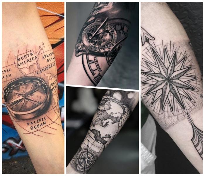 tattoo weltkarte, 3d tätowierung mit sonnenuhr als motiv, symbole für reisen
