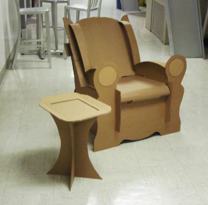 möbel selber machen, kartonmöbeldesign günstige möbel, sessel und hocker oder kaffeetisch