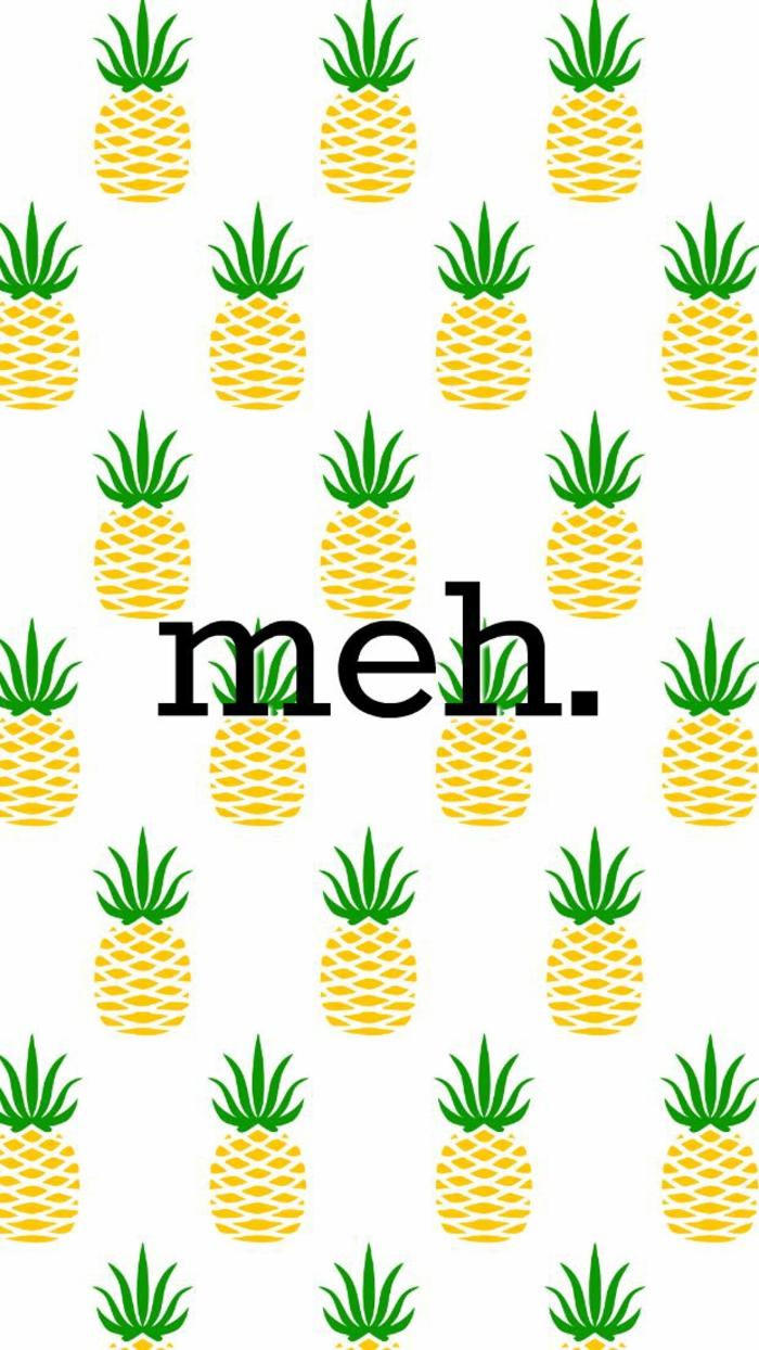 hintergrundbilder iphone meh schreiben auf ein bild weiß mit vielen kleinen ananasen