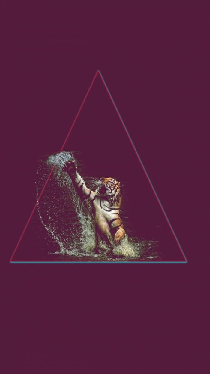 hintergrundbilder iphone, dunkellila schattierung als hintergrundfarbe vorne stehr ein dreieck in dem ein tiger bild im wasser