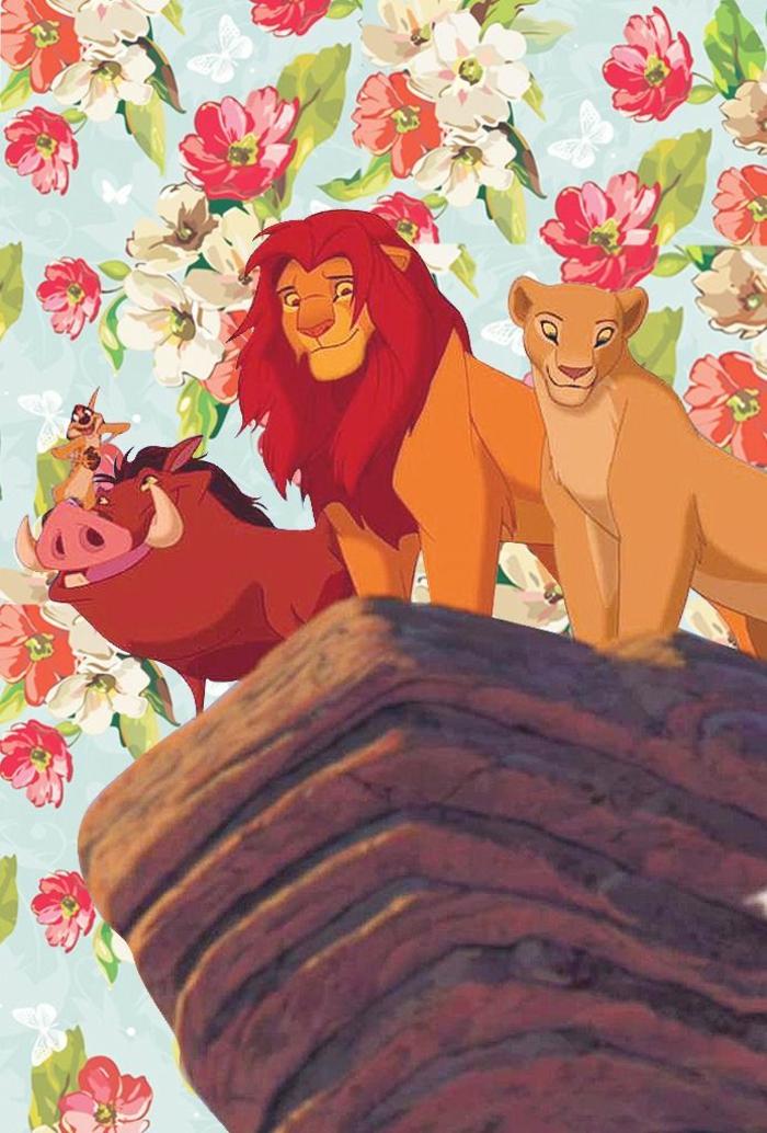 sperrbildschirm hintergrund, löwen film, löwefamilie, timon und pumba, auf einem rock, hintergrund mit bunten blumen