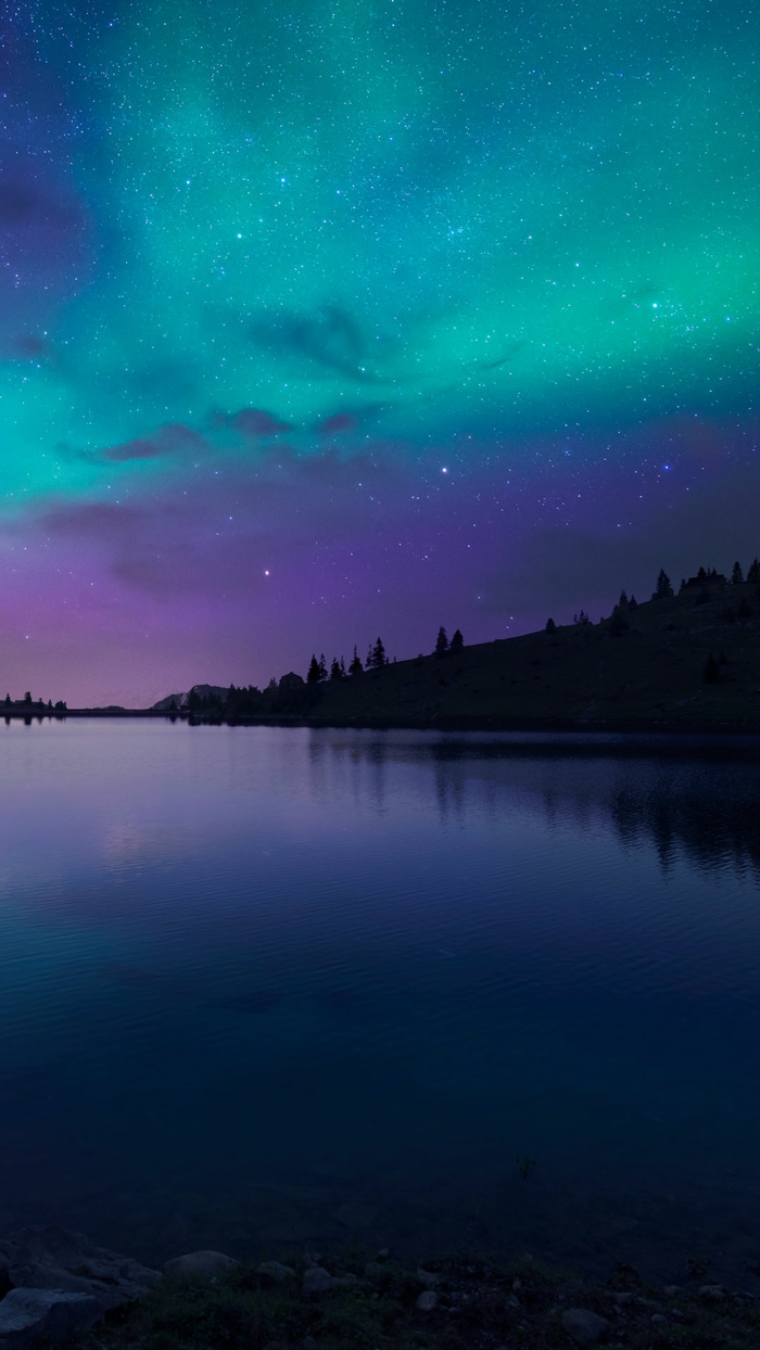 live wallpapers, naturfoto mit photoshop farben verfeinern, türkis himmel, lila kosmos, dunkelblaues wasser, wald
