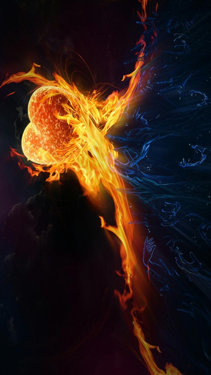 ein Hintergrundbild mit vielen Symbolen, rotes Feuer und helles Wasser, Dunkelheit und Licht, Hintergrundbilder kostenlos