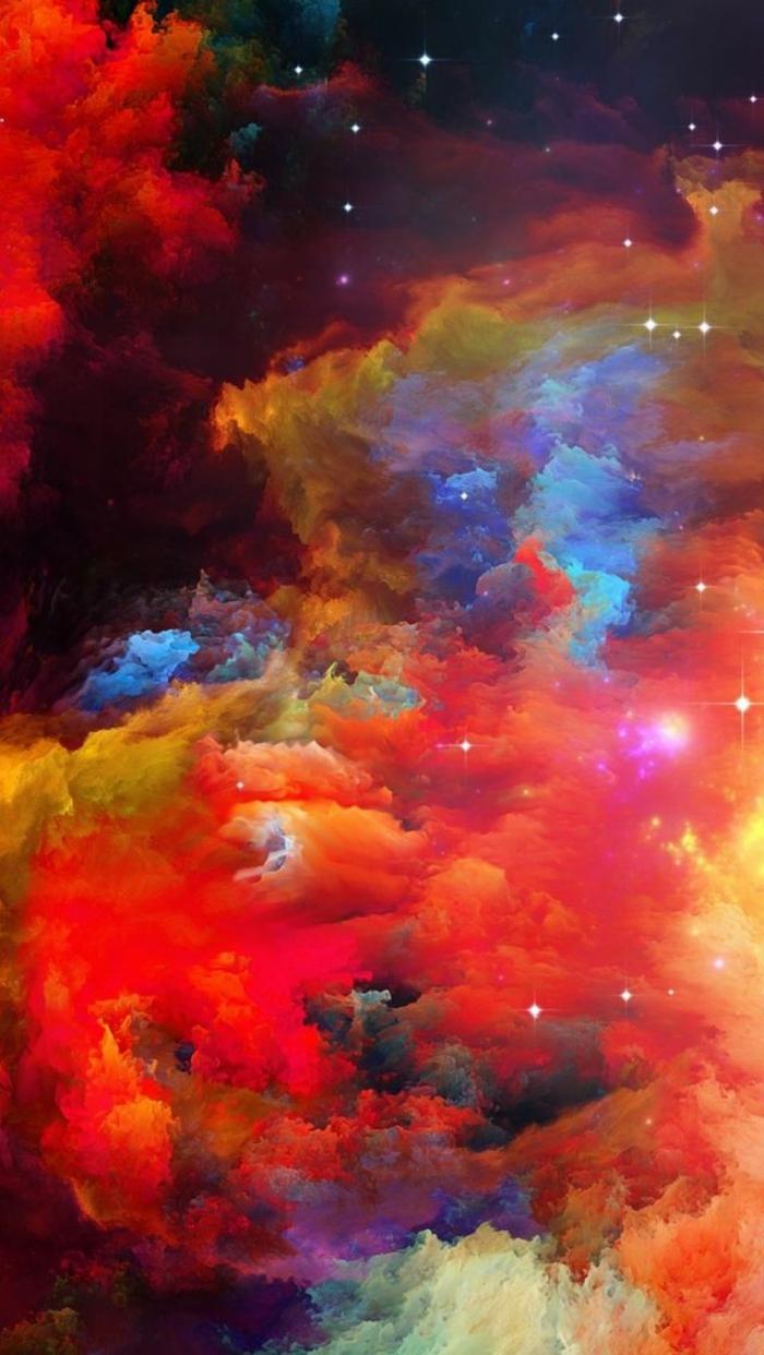 hintergrundbilder iphone, wolken in verschiedenen farben, rote lila rosa blaue wolken und sterne