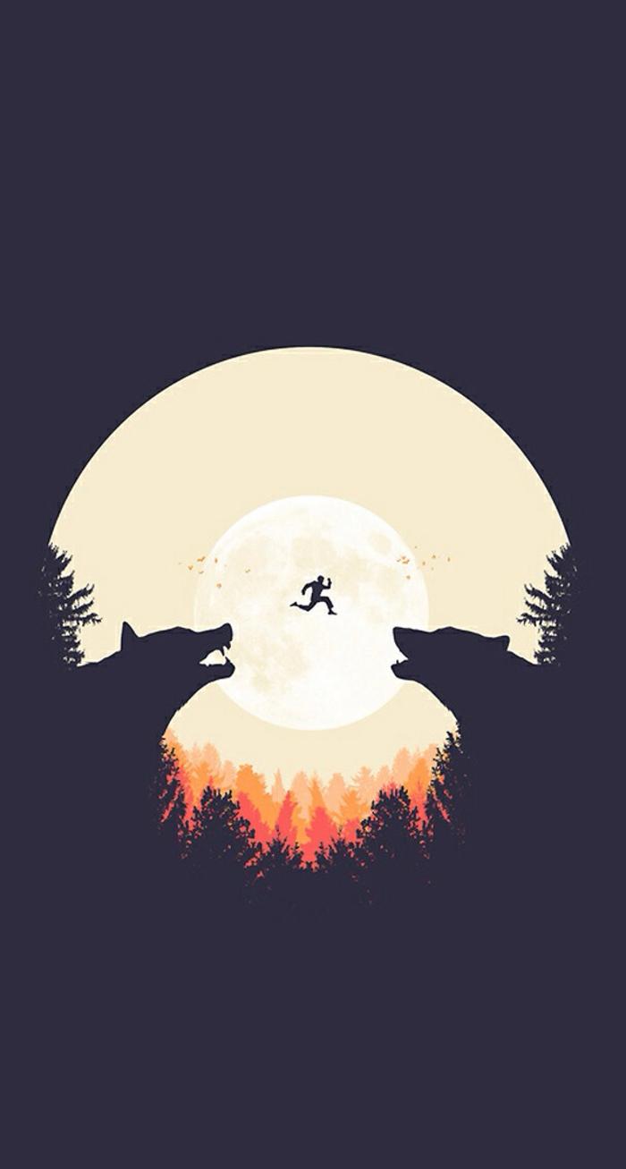 iphone wallpaper für menschen, die gern wolf haben, ein mensch springt am mond, zwei wölfe im hintergrund, vollmond