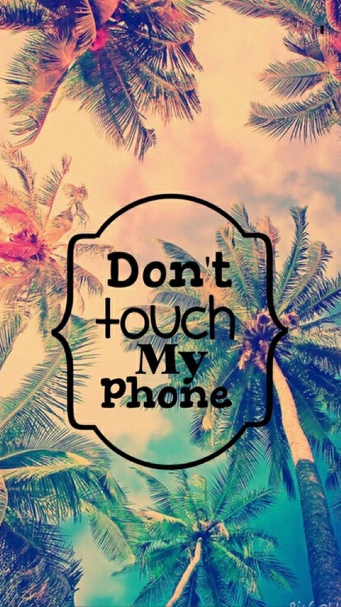 coole hintergründe mit lustigen sprüchen, text berühre nicht mein handy, bild dahinten ist mit exotischen palmen und warme farben