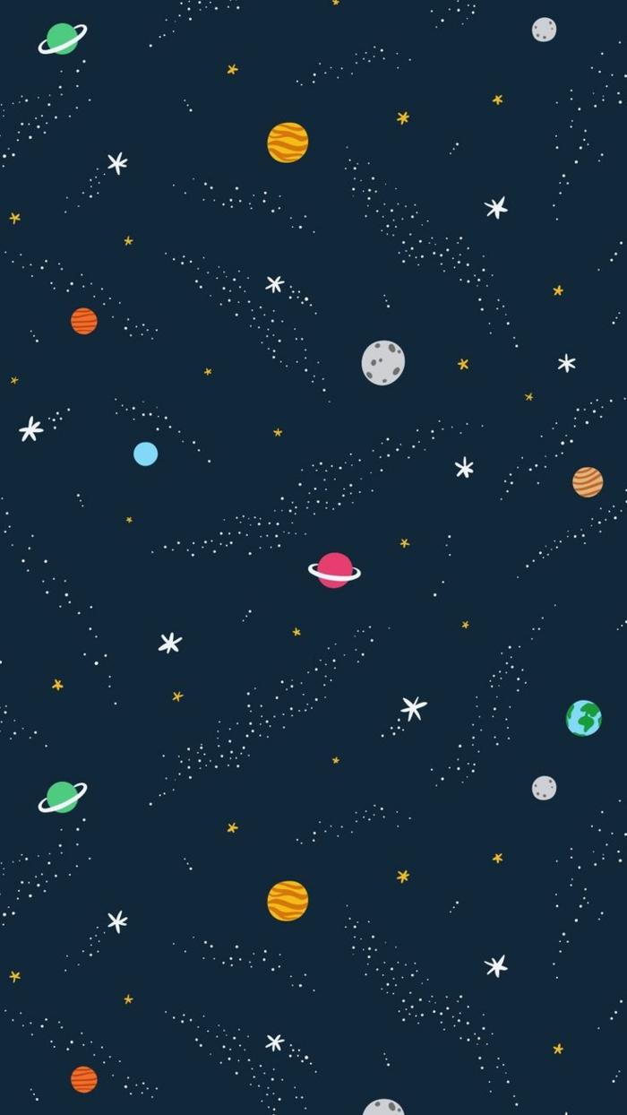 iphone hintergrundbilder, dunkler hintergrund kosmos, bunte planeten und sterne vorne, kosmos selber malen am handy und dann das bild als background nutzen