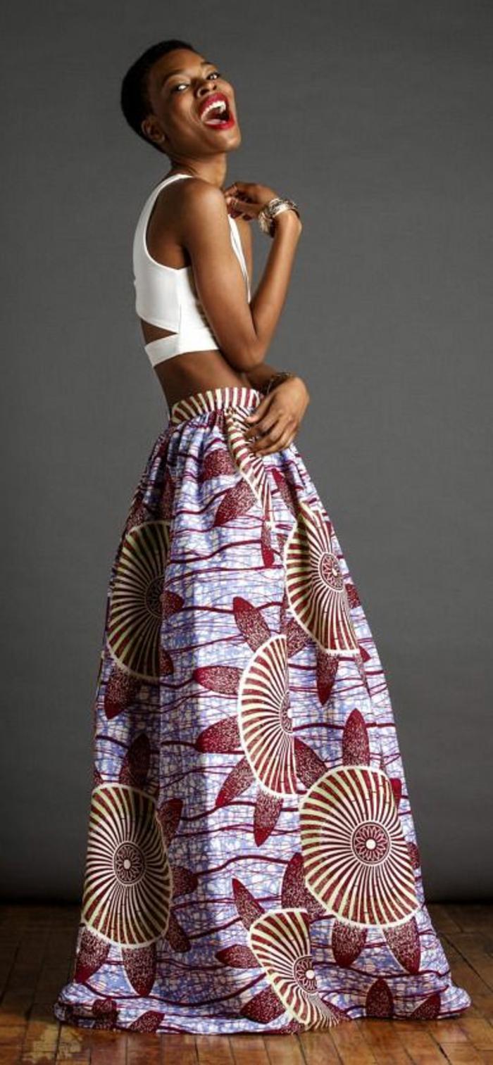 stoffe kaufen und immer in schritt mit der mode sein, afro style kleidung, langer unterteil und kurzer weißer top