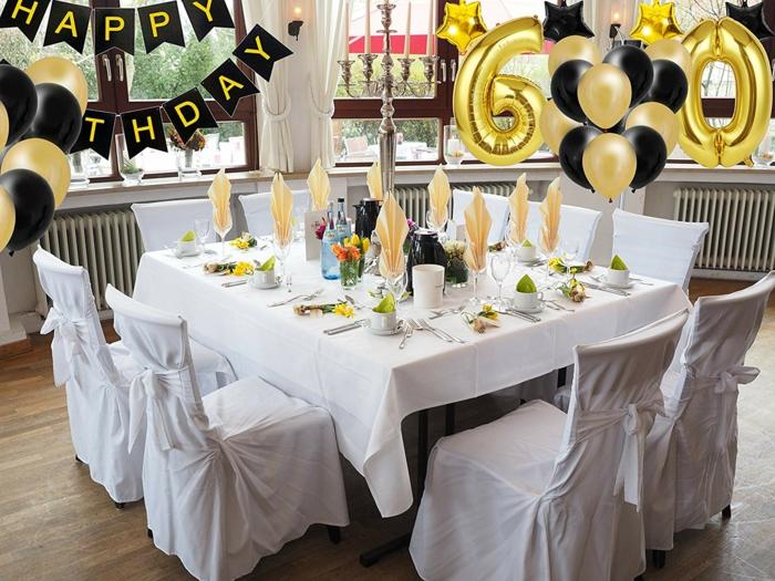 Girlande mit den Buchstaben Happy Birthday, goldfarbene Ballons mit dem Alter, schwarze und goldfarbene Ballons, Ideen für 60 Geburtstag