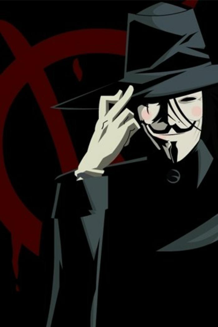 wallpaper handy anonimous, mann in schwarz gekleidet und rote schild im hintergrund