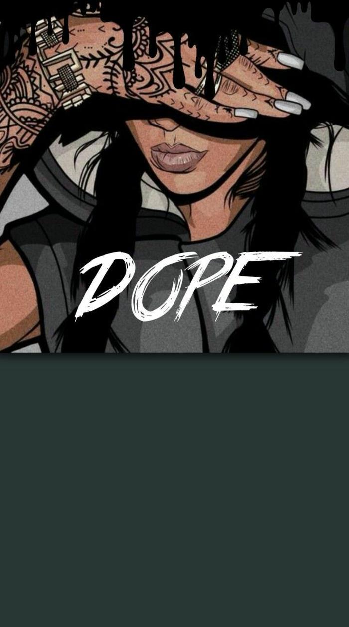 iphone hintergrund bild von einer frau mit dem text dope, swag girl, volle lippen, lange nägel, tattoos