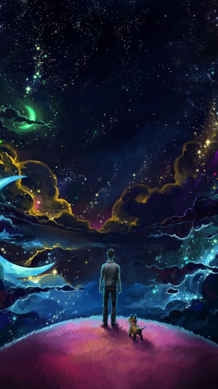 hintergrundbilder zum inspirieren, ein mann steht im dunklen mit seinem hund, himmel, kosmos, weltall, mond, halbmond