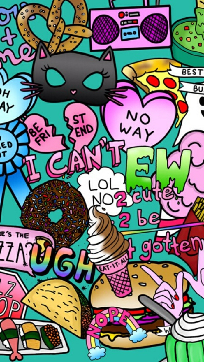 hintergrundbilder ideen mit lustigen bildern und inspirierenden krassen farben, donuts, eis, katzen
