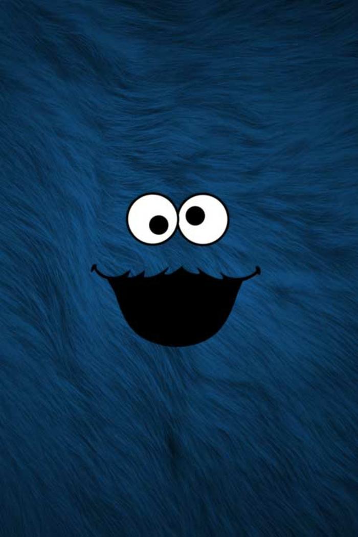 iphone hintergrundbilder, lustige fotos zum nutzen, cookie monster blauer hintergrund mit zwei große weiße augen und mund