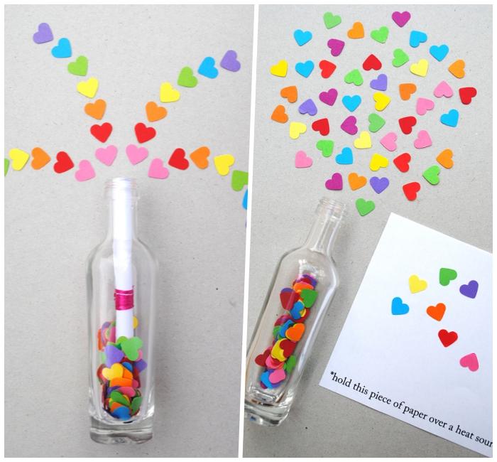 jahrestag geschenk für ihn, bunte herzen, weinflasche gefüllt mit konfetti