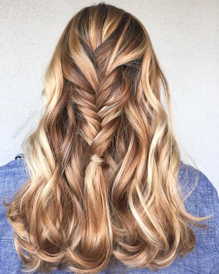 eine frau mit langer haare mit blonden langen strähnchen, frau mit blauen pullover, http://gph.is/2cCHl7F blond