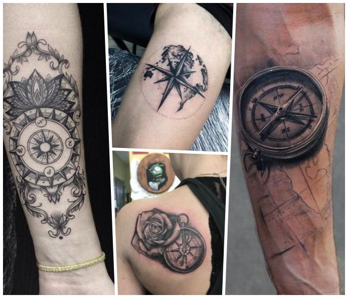 tattoo weltkarte, kleine tätowierung am oberarm, weiße rose am rücken