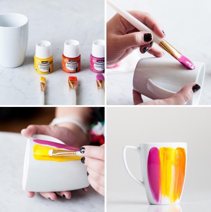 keramik bemalen techniken, gelbe, orangenfarbene und rosa porzellanfarbe, pinsel