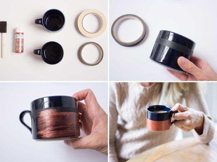 keramik bemalen techniken, schwarze kaffeetassen mit bronzenfarbene farbe dekorieren