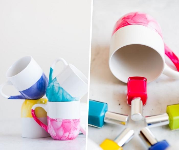 keramik bemalen techniken, tassen verziert mit nagellack, maror look, kreative bastelideen