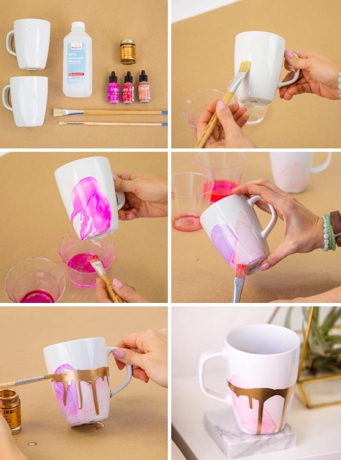 keramik bemalen techniken, rosa alkoholtinte, goldene farbe, zwei pinsl, reinigungsalkohol