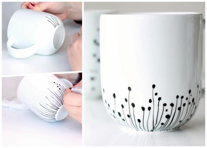 tasse mit schwarzerm marker dekorieren, keramik porzellan, einfaches motiv, diy