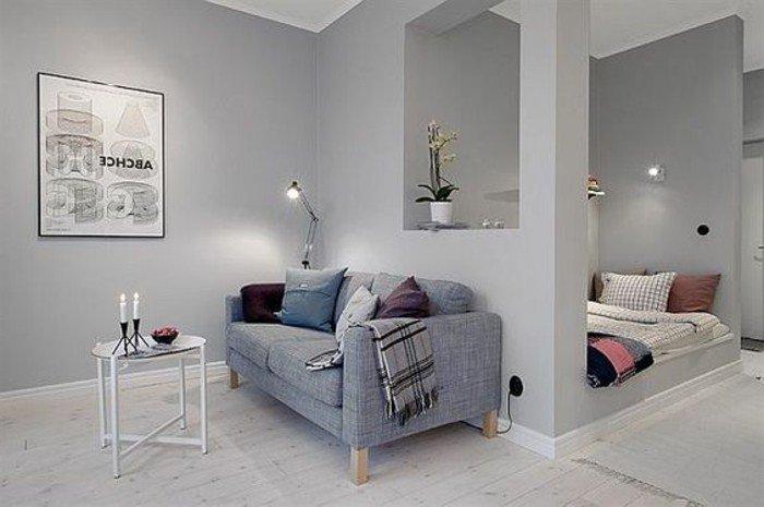 einraumwohnung gestalten, interieur design ideen in grau, pastellfarbe, zimmer in zwei bereichen teilen, wohn und schlafraum