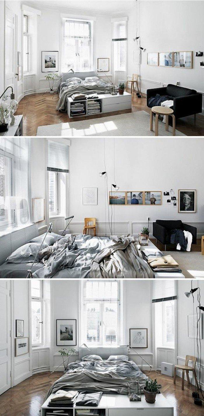 kleines wohnzimmer einrichten, collage aus drei bildern, graues wohndesign zum inspirieren, bett direkt auf dem boden
