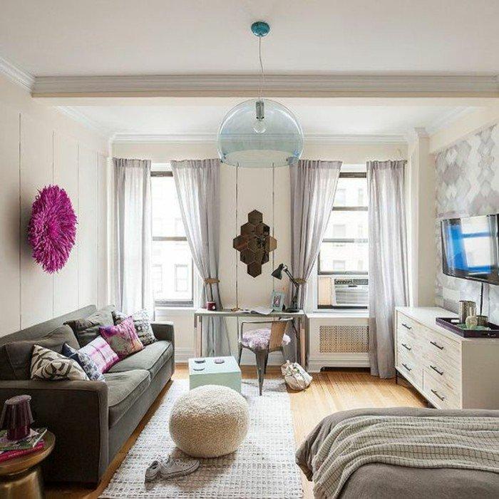 einraumwohnung designer ideen, sofa mit doppelsitz, bodenkissen, doppelbett, doppelfenster, optisch größer