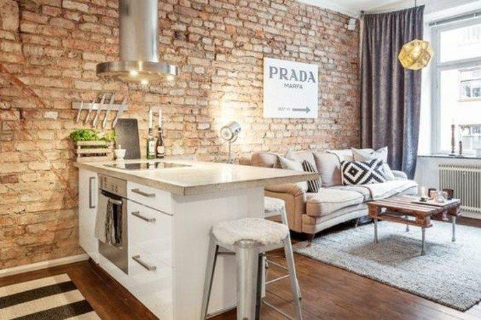 einraumwohnung, robuster stil einrichtung, ziegelwand, küchenzeile, küchenschrank, schubladen