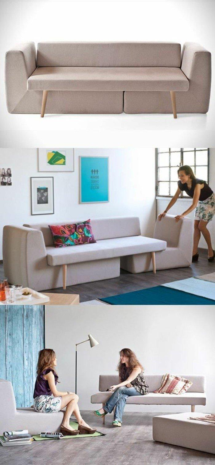 ein kompaktes Sofa mit zwei Sessel darunter, passend für Studentenheim, Wohnzimmer Ideen für kleine Räume