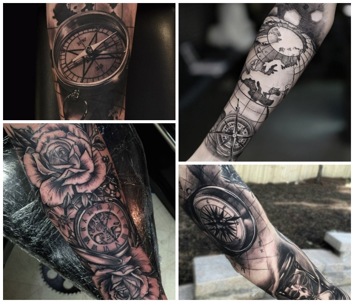 kompass tattoo, designs in schwarz grau, weiße rosen in kombination mit uhr, weltkarte