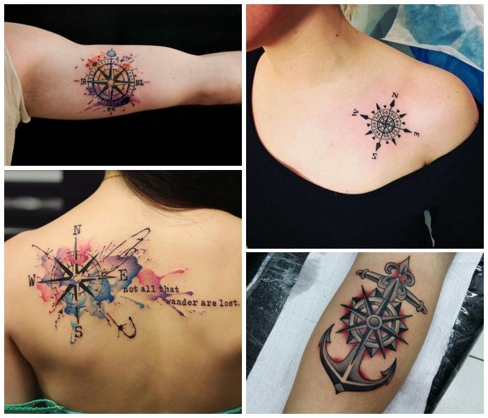 kompass tattoo am rücken in kombination mit schriftzug, bunte farben, anker mit steuerrad