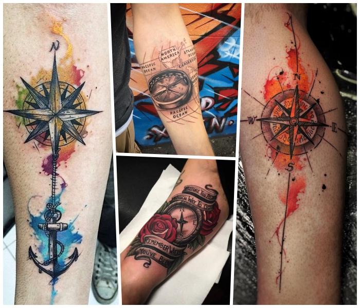 kompass tattoo designs, tätowierungen mit wasserfarben, rote rosen, anker mit seil