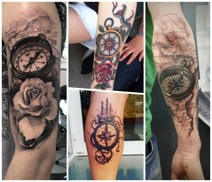 kompass tattoo, verschiedene designs, rote rosen, 3d tätowierung, schiff