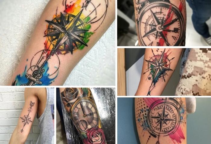 kompass tattoo ideen, goldene uhr, rote und gelbe rose, bunte farben, arm tätowieren