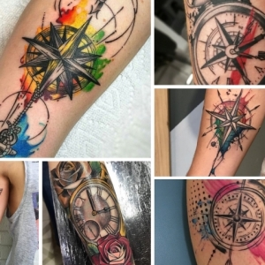 101 der besten Kompass Tattoo Designs