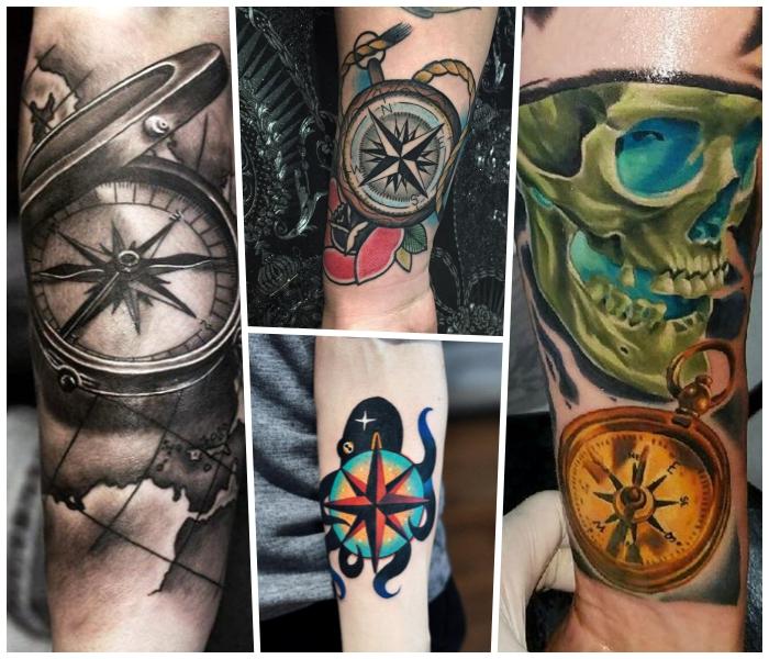kompass tattoo in schwarz und grau, grüner schädel mit blauem licht, schwarzer oktopus
