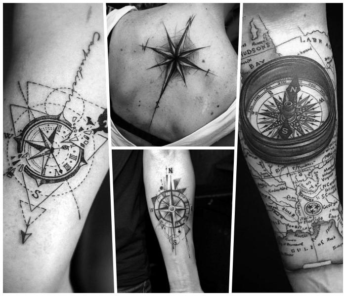 kompass tattoo in schwarz und grau, verschiedene designs, rücken tätowieren, weltkarte
