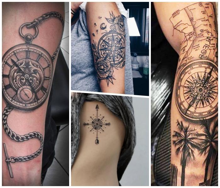 koordinaten tattoo am arm in kombiantion mit palmen, kleine tätowierung an der körperseite