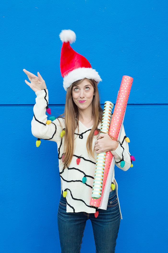 Weißen Weihnachtspullover mit Lichterkette selber stricken, kreatives Weihnachtsgeschenk selber machen