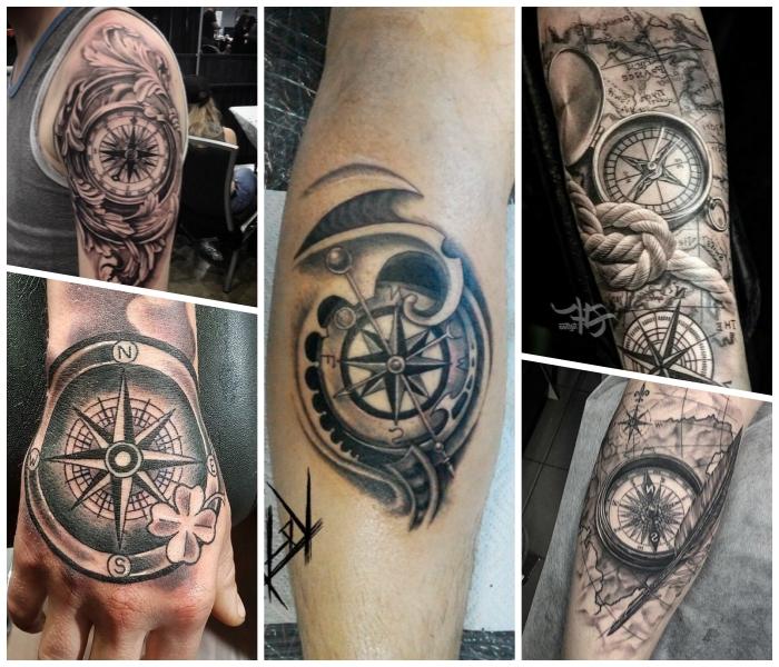 landkarte tattoo am bein, kleine blüte, tätowierung an der hand, dicker seil